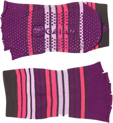 Gaiam Grippy Toeless Yoga Socks - Anti-slip Yogasokken - Roze / Paars