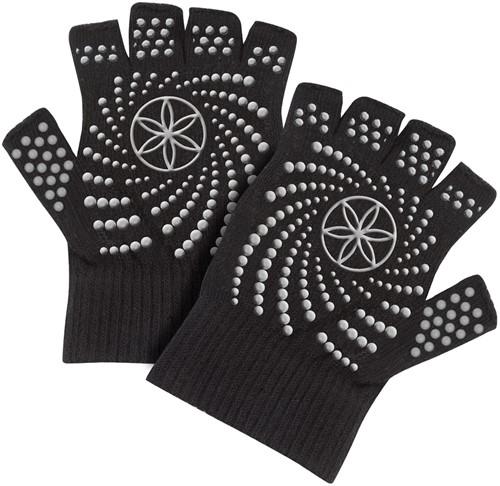 Gaiam Grippy Yoga Gloves - Anti-slip Handschoenen - Zwart / Grijs