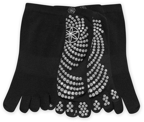 Gaiam Grippy Yoga Socks - Anti-slip Yogasokken - 2-Pack - Black / Grey