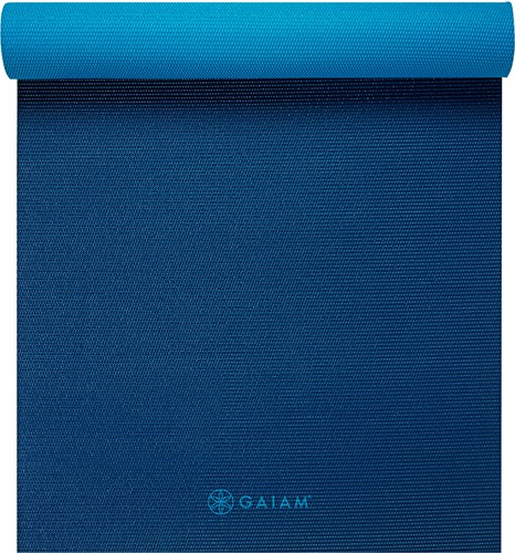 Gaiam 2-Color Yoga Mat - 6 mm - Navy / Blauw