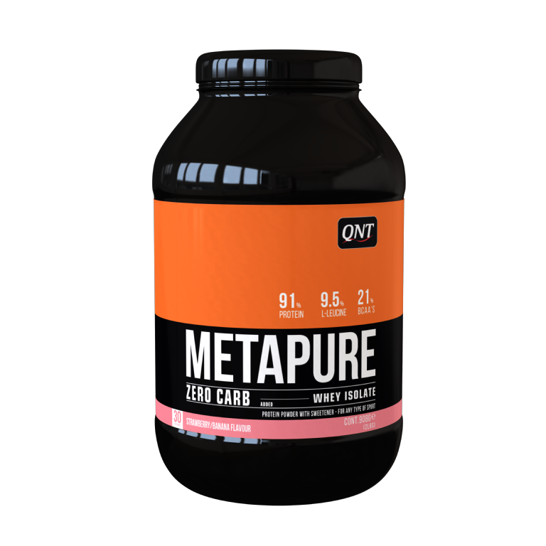 QNT Koolhydraatarm Zero Carb Metapure - 908g - Strawberry Banana