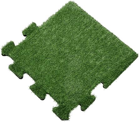 Rubber Tegel met Kunstgras Toplaag - Zijstuk - Puzzelsysteem - 50 x 50 x 2,2 cm