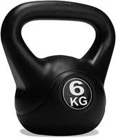 VirtuFit PVC Kettlebell - 6 kg - Zwart