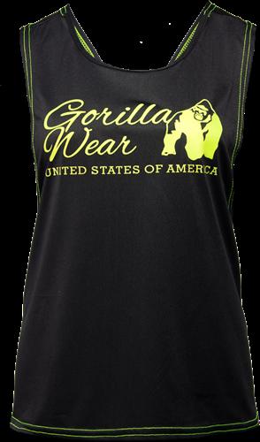 Gorilla Wear Odessa Cross Back Tank Top - Zwart/Neon Groen