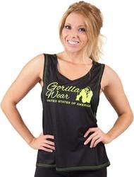 Gorilla Wear Odessa Cross Back Tank Top - Black/Neon Lime