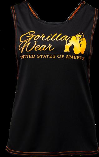 Gorilla Wear Odessa Cross Back Tank Top - Zwart/Neon Oranje