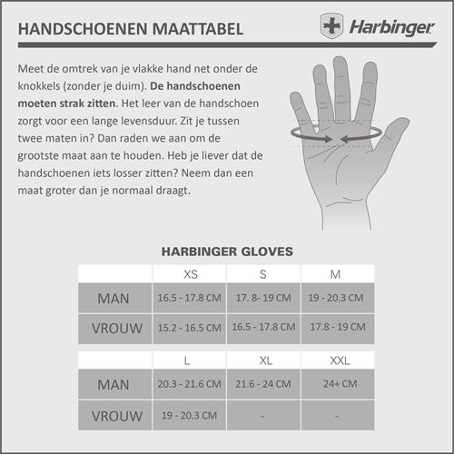 harbinger wristwrap bag fitness handschoenen maattabel