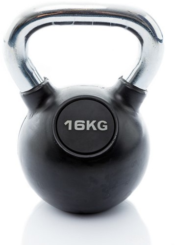 Muscle Power Rubberen Kettlebell - Zwart - 16 kg