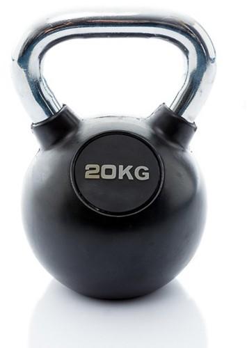 Muscle Power Rubberen Kettlebell - Zwart - 20 kg