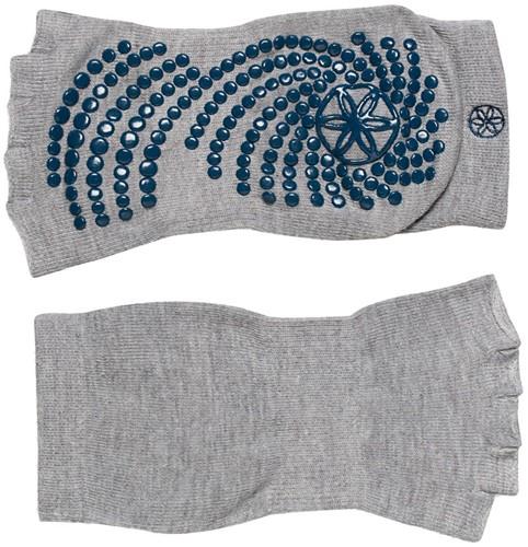 Gaiam Grippy Toeless Yoga Socks - Anti-slip Yogasokken - Grijs / Teal Blauw