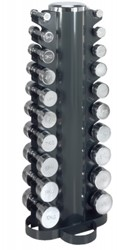 Toren met chrome dumbells 1 t/m 10 kg