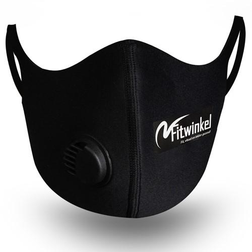 Fitwinkel Herbruikbaar Mondkapje met Ventiel - Zwart