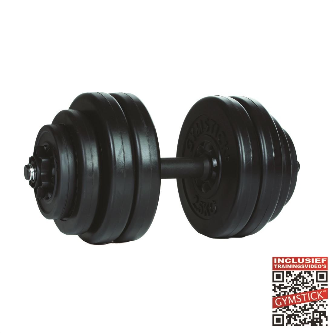 Gymstick Vinyl Dumbbell Set - 1 x 15 kg - Met Online Trainingsvideo's