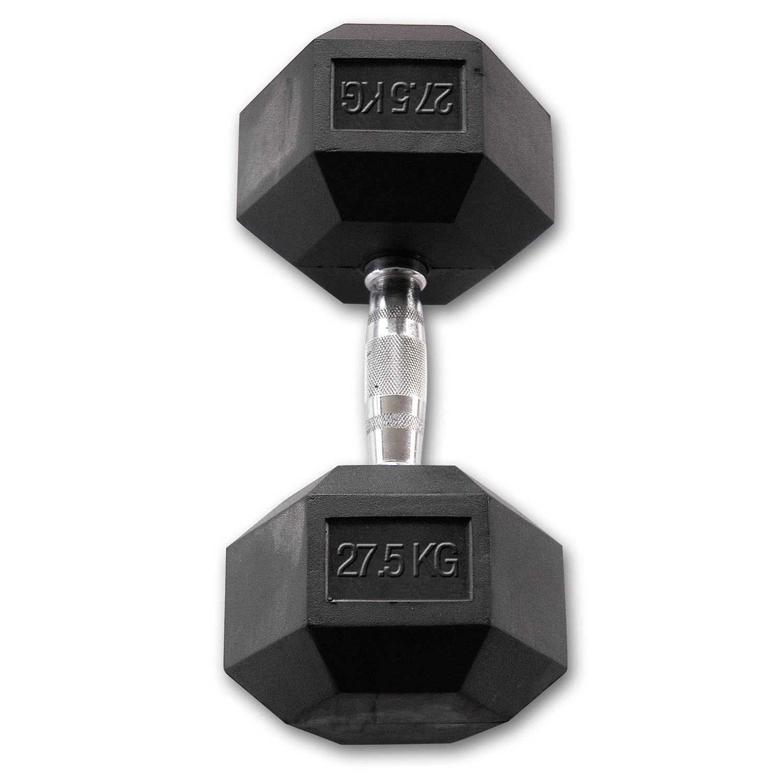 Body-Solid Hexagon Dumbbell - Rubber - 27,5 kg - Per paar