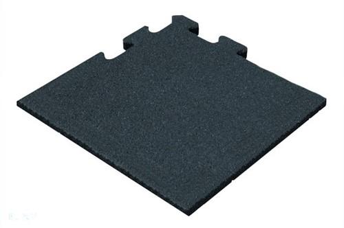 Rubber Tegel - Hoekstuk - Puzzelsysteem - 50 x 50 x 2,5 cm - Zwart