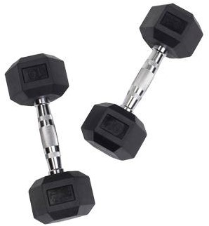 Body-Solid Hexagon Dumbbell - Rubber - 10 kg - Per Paar