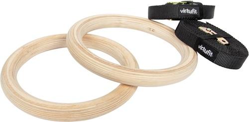 VirtuFit Houten Crossfit Gym Ringen - Inclusief straps