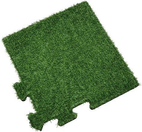 Rubber Tegel met Kunstgras Toplaag - Hoekstuk - Puzzelsysteem - 50 x 50 x 2,2 cm