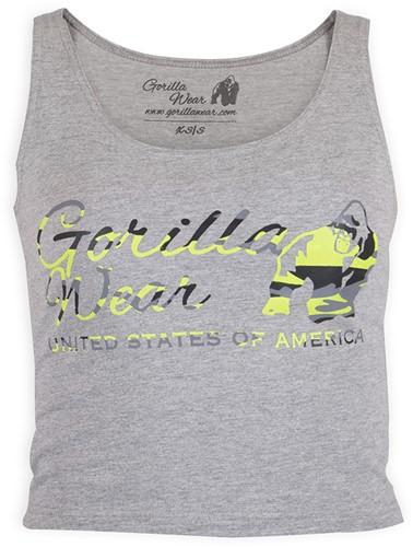Gorilla Wear Oakland Crop Tank Grijs/Neon Groen Camo