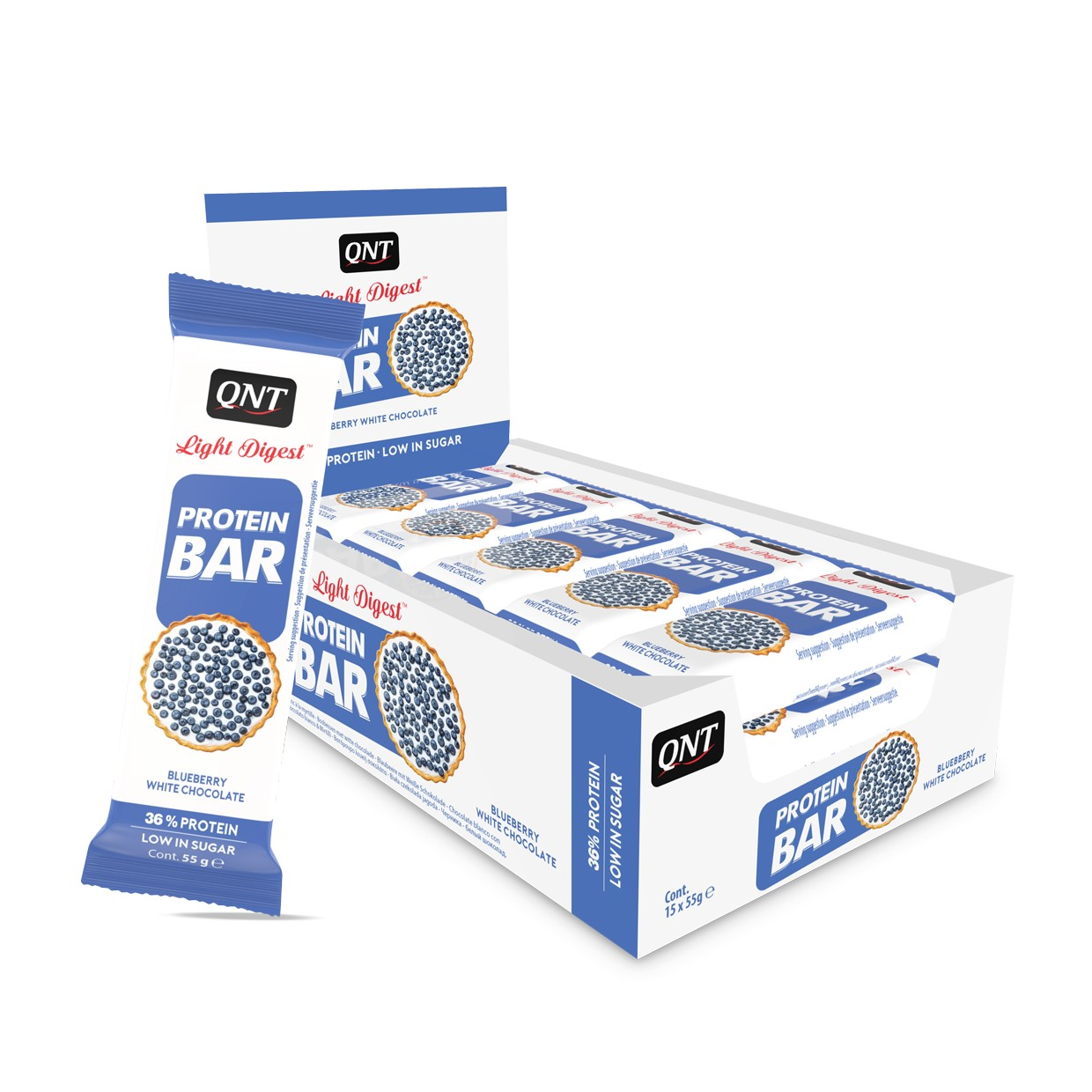 QNT Light Digest Protein Bar - 15 x 55 gr - Bosbessen / Witte Chocolade