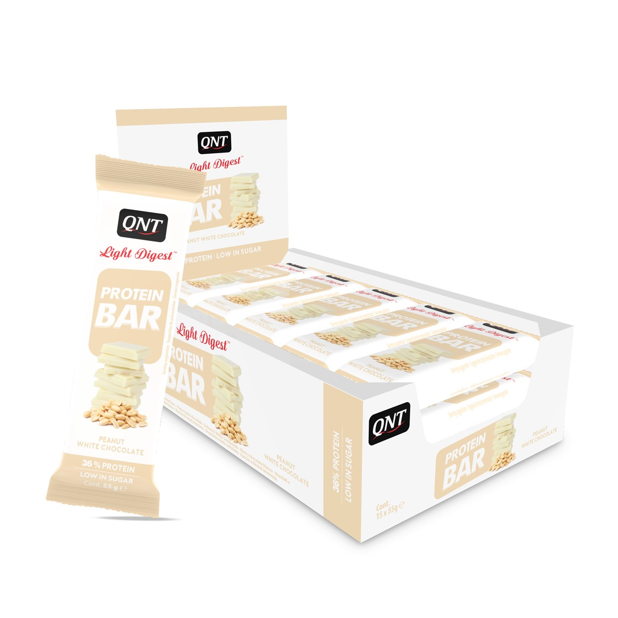 QNT Light Digest Protein Bar - 15 x 55 gr - Pinda's / Witte Chocolade