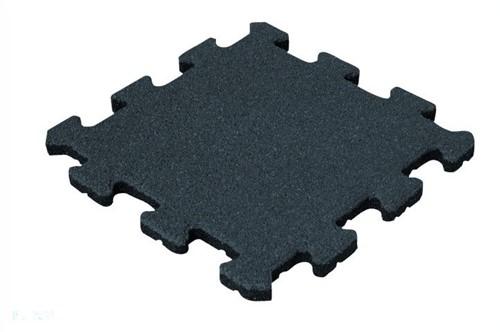 Rubber Tegel - Middenstuk - Puzzelsysteem - 50 x 50 x 2,5 cm - Zwart