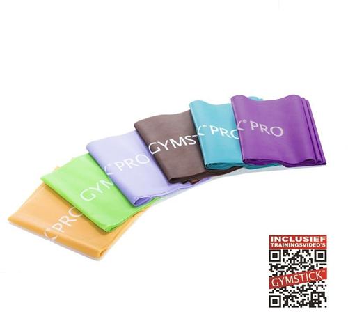 Gymstick Pro Weerstandsband - 2,5 m - 6-delige Set - Met Online Trainingsvideo's