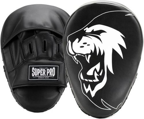 Super Pro Combat Gear Curved PU Handpads - Zwart / Wit