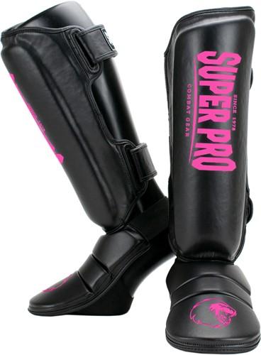 Super Pro Combat Gear Protector Scheenbeschermers - Zwart/Roze