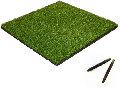 Rubber Tegel met Kunstgras Toplaag - met Pen-en-Gat systeem - 50 x 50 x 5,5 cm