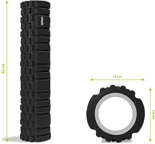 VirtuFit Grid Foam Roller - Massage roller - 62 cm - Zwart-3