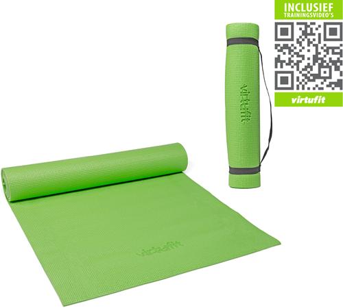VirtuFit Yogamat Met Draagkoord - 183 x 61 x 0.3 cm - Lichtgroen - Gratis Trainingsvideo's
