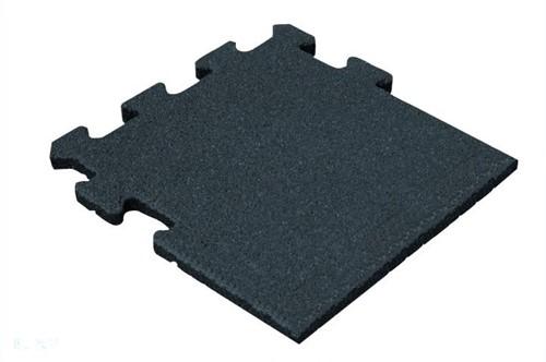 Rubber Tegel - Zijstuk - Puzzelsysteem - 50 x 50 x 2,5 cm - Zwart